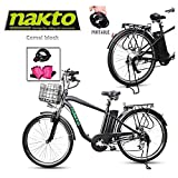 NAKTO 26' 250W Cargo Electric Bicycle Sporting Shimano 6 Speed Gear EBike Brushless Gear Motor with Removable Waterproof Large Capacity 36V10A Lithium Battery and Battery Charger -Class AAA