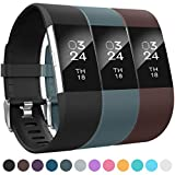 AIUNIT Compatible Silicone Bands Applicable for Fitbit Charge 2 Accessories Wristbands Stylish to Coordinate with Daily Outfits Suitable for Women Men Boys Girls(Black,Slate,Brown)