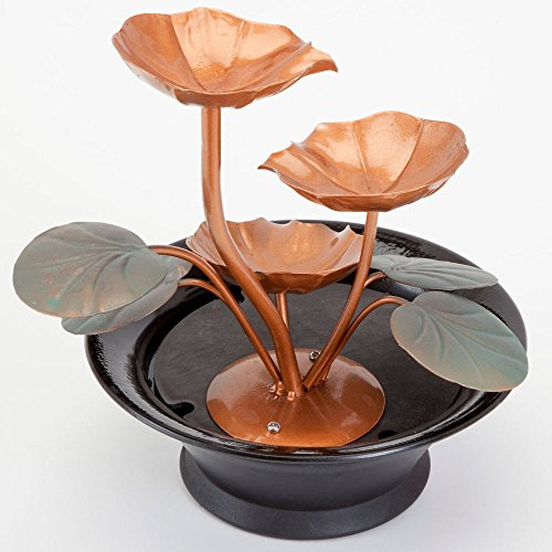 Bits-and-Pieces-Indoor-Water-Lily-Water-Fountain-Small-Size-Makes-This-A-Perfect-Tabletop-Decoration-Compact-and-Lightweight