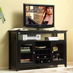 Mixcept 52″ Concise Wooden Sideboard Wine Cabinet Buffet Table Tall Console Dining Server Storage Cabinet Open Shelf with Wine Rack, Black