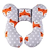 KAKIBLIN Baby Travel Pillow, Infant Head and Neck Support Pillow for Car Seat, Pushchair, for 0-1 Years Old Baby (Gray Fox)