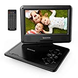 Portable DVD Player 9' with 5 Hours Rechargeable Battery by SPACEKEY, Swivel Screen, Support USB/SD Slot and 1.8M Car Charger, Support Memory and Region Free (Black)