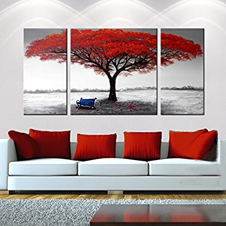 Amazon.com: Hand-Painted 3-Piece Gallery-Wrapped Home Canvas Wall Art Set  ('The First Snowflakes'): Posters & Prints