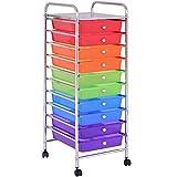 Giantex 10 Drawer Rolling Storage Cart Tools Scrapbook Paper Office School Organizer, Multi-Color