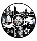 Japan Hong Kong Wall Clock Made of Vintage Vinyl Records - Stylish Clock and Amazing Gifts Idea - Unique Home Decor - Personalized Presents for Men Women Kids - Great for Living Room Bedroom Kitchen