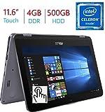 2018 Newest Business Asus VivoBook Flip 11.6' 2-in-1 HD Touchscreen Laptop/Tablet, Intel Dual Core N3350, 4GB DDR3 RAM, 500GB HDD, WiFi, FingerPrint Reader, Windows 10 Home, Stylus Pen Included