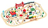 Wooden Train Set - Deluxe City Train Tracks Wooden Railway Track for Toddlers - 130 pcs