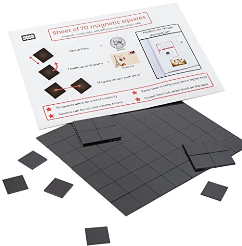 Magnefic Magnetic Squares, 1 Tape Sheet of 70 Magnetic Squares (each 20x20x2mm), Magnet on one Side, Self Adhesive on the other Side. Perfect for Fridge Organisation, Art Project, Vision Board