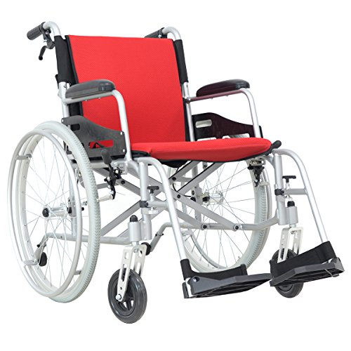 Hi-Fortune Lightweight Medical Manual Wheelchair with Full Length Padded Armrests and Hand Brakes, Portable and Folding with Magnesium Alloy, 17.5'' Seat, Red, 21lbs