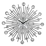 Designer Wall Clock - Original Vintage Metal Art Wall Clock Luxury Diamond Large Watch Orologio Da Parete Morden Design - Black Peacock Room For Battery Operated Decorative Living