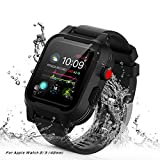 [Waterproof Case for 42mm] AIUERU Waterproof Apple Watch Case with Resilient Shock Absorption for 42mm Apple Watch Series 3 / Series2 / with 2 Soft Silicone Watch Band - Black