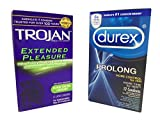 Durex Prolong and Trojan Extended Pleasures Climax Control Latex Condoms Combo Pack with Silver Pocket/Travel Case