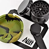 SILICONE ALLEY SMOKN-Edition [Full Set] - Nonstick Ashtray (1) + Mat (1) + Unbreakable Hand Piece w/Stainless Steel Filter (1) + Herb Grinder [Aluminum] (1)