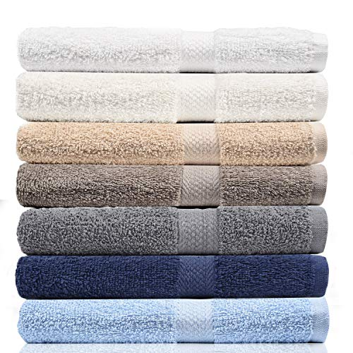 CrystalTowels 7-Pack Bath Towels - Extra-Absorbent - 100% Cotton - 27' x 52'