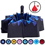Fidus Inverted Reverse Sun&Rain Car Umbrella Large Windproof Travel UV Umbrella for Women Men - Auto Open Close(Blue Flower)