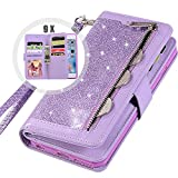 iPhone 6S Plus Wallet Case with Strap for Women,Auker Bling Glitter Leather Trifold 9 Card Holder Flip Magnetic Wallet Purse Case with Zipper Coin/Cash Pocket&Fold Stand for iPhone 6 Plus (Purple)