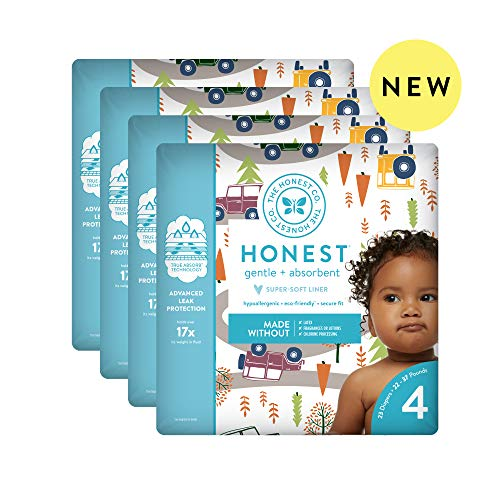 The Honest Company Baby Diapers with TrueAbsorb Technology, Winding Roads, Size 4, 92 Count