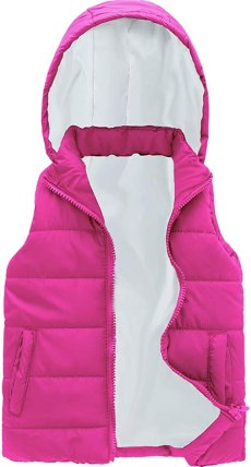 SNOW DREAMS Girls Puffer Vest Quilted Sleeveless Coat Love Print Lined Zip Up Hood Jacket