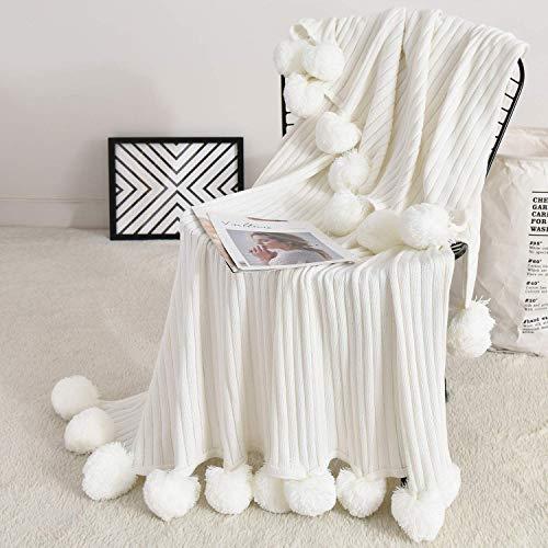 Throw With Pom Pom Fringe White Knit Throw Blanket Goldilocks