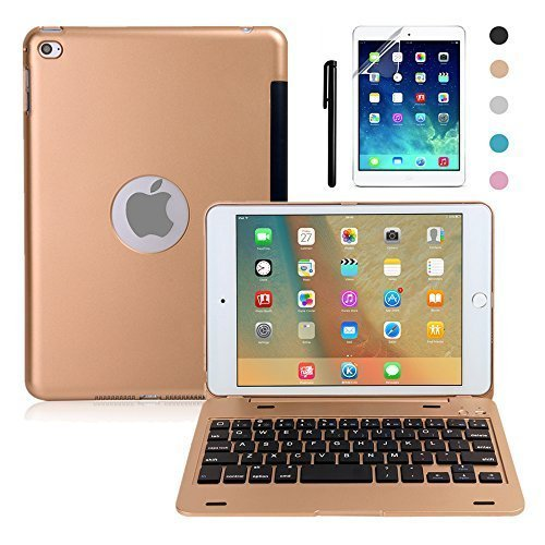 iPad Mini 4 Keyboard Case, BoriYuan Bluetooth Wireless Keyboard Folio Flip Smart Cover for Apple iPad Mini 4 2015 Release with Folding Stand and Auto Sleep/Wake Function, Gold