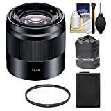 Sony Alpha NEX E-Mount 50mm f/1.8 OSS Lens (Black) with NP-FW50 Battery + Filter + Pouch + Kit for A7, A7R, A7S Mark II, A5100, A6000, A6300 Cameras