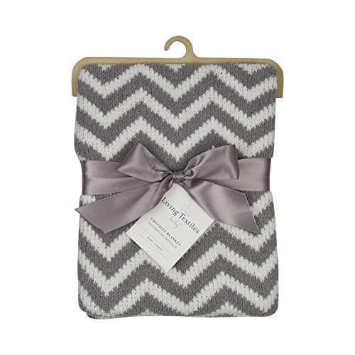 Living Textiles Chenille Baby Blanket. Grey Chevron Ultra-Soft Throw Blanket for Cribs and Strollers