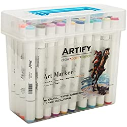 Artify Artist Alcohol Based Art Marker Set/ 40 Colors Dual Tipped Twin Marker Pens with Plastic Carrying Case/AP Certified