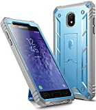 Galaxy J3 2018 Kickstand Rugged Case, Poetic Revolution Full Body Case with Built-in-Screen Protector for Samsung Galaxy J3 Orbit/J3 Star/J3 V 3rd Gen/J3 Achieve/Express Prime 3/Amp Prime 3 Blue