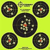 Splatterburst Targets 12 x 12 inch (5) Bullseye Reactive Shooting Target - Shots Burst Bright Fluorescent Yellow Upon Impact - Gun - Rifle - Pistol - AirSoft - BB Gun - Air Rifle (10 pack)