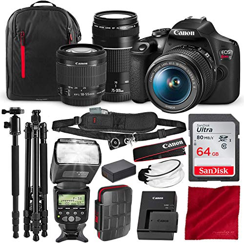 Canon-T7-EOS-Rebel-DSLR-Camera-with-18-55mm-and-75-300mm-Lenses-Kit-and-67-TripodMonopod-AF-Power-Zoom-Flash-64GB-SD-Card-Pro-Photo-Travel-Bundle