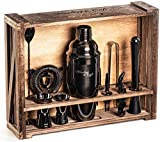 Mixology Bartender Kit: 11-Piece Black Bar Set Cocktail Shaker Set with Rustic Wood Stand   Perfect Home Bartending Kit with Gun Metal Bar Tools and Martini Shaker for Foolproof Drink Mixing
