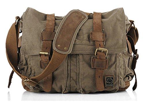 Sechunk Vintage Military Leather Canvas Laptop Bag Messenger Bags Medium