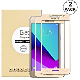 KTTWO Samsung Galaxy J2 Prime Screen Protector Glass, (2PACK) Full Screen Coverage Anti-Scratch Bubble-Free Tempered Glass Screen Protector with Full Glue for Samsung Galaxy J2 Prime 2016/2017, GOLD