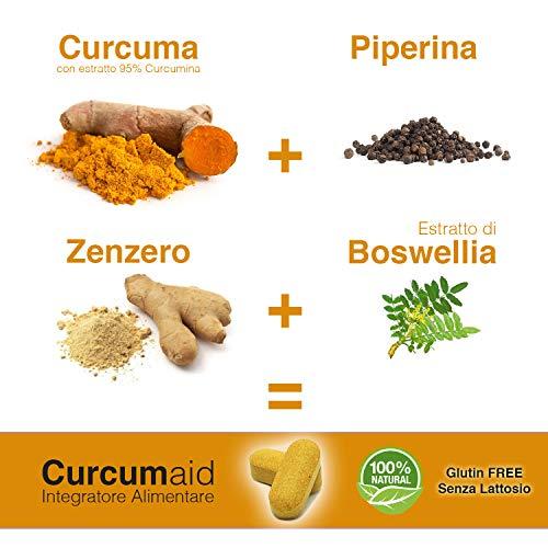 CURCUMA E PIPERINA PLUS 95% – 60 Compresse curcuma e piperina IN BLISTER con estratto di Zenzero e Boswellia [formula…