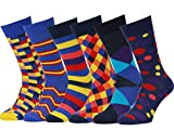 Easton Marlowe Men's Colorful Patterned Dress Socks - 6pk #23, neutral colors - 43-46 EU shoe size