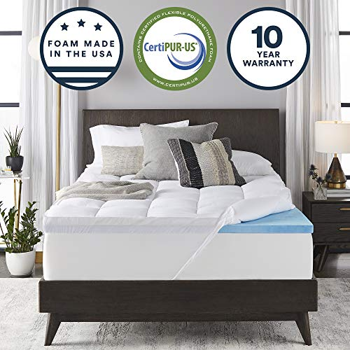 Sleep Innovations Gel Memory Foam 4-inch Dual Layer Mattress Topper Queen, Made in The USA with a 10-Year Warranty