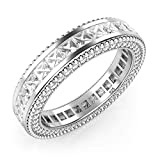 Sz 6 Sterling Silver 925 Princess Cut Cubic Zirconia CZ Milgrain Eternity Band Ring