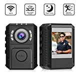 Body Camera 1080P HD Portable Police Worn Camera Support 128G SD Card - Wearable Camera with IR Night Vision and 170 Degree Wide Angle for Law Enforcement Recorder - Mini Dash Camera for Cars (A)