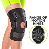 BraceAbility Torn Meniscus ROM Knee Brace | Hinged Post Surgery Support with Flexion/Extension Control for Hyperextension & Locking Treatment, Ligament (PCL/ACL) Tears, Osteoarthritis (Medium)