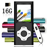 Tomameri - Portable MP3 / MP4 Player with Rhombic Button, Including a 16 GB Micro SD Card and Support Up To 64GB, Compact Music, Video Player, Photo Viewer Supported - Black