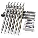 Nicpro 6PCS Mechanical Pencils,Metal Automatic Drafting Pencil 0.5 mm and 0.7 mm Graph Pencil With 6 Tubes HB Lead Refills and 3 Erasers For Writing Draft, Drawing, Sketching -Come With Case
