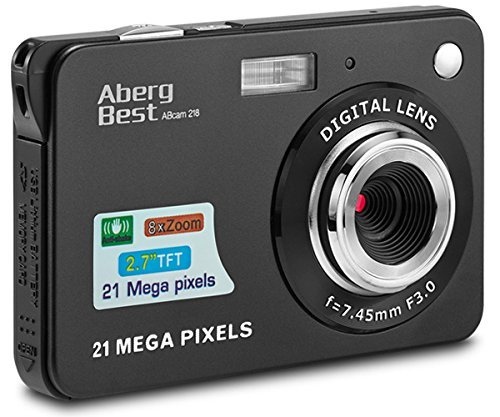 AbergBest 21 Mega Pixels 2.7' LCD Rechargeable HD Digital Camera,Video camera Digital Students cameras,Indoor Outdoor for Adult/Seniors/Kids (Black)