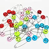 JMAF Safety Pins Child Proof Safety Pin, Candy-Color- Smile Cute Baby Safe Pins,Plastic Head, for Fabric Diapers, Garment Repair (20)