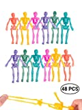 UpBrands 48 Pack Stretchy Skeleton 4 inches Bulk Set 8 Glitter Colors, Kit for Birthday, Halloween Party Favors for Kids, Goodie Bags, Easter Egg Basket, Pinata Filler, Small Toys Classroom Prizes