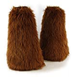 Pawstar Furry Leg Warmers Made in USA Boot Covers Fluffies - Rust