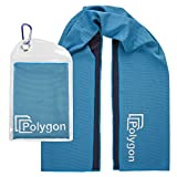 POLYGON Cooling Towel, Microfiber Ice Sports Towel, Instant Chilling Neck Wrap for Sports, Workout, Running, Hiking, Fitness, Gym, Yoga, Pilates, Travel, Camping & More, 40' x 12', Blue