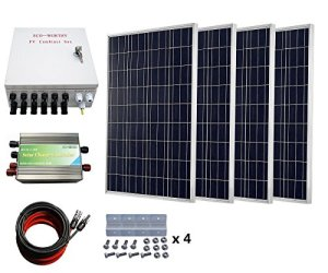 ECO-WORTHY 400 Watts Solar System: 4pcs 100W Poly Solar Panel + 30A PWM Charge Controller + 6-String Solar Combiner + 24cm Cable Connector