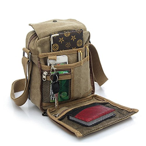 Fathers Day Gifts for Papa, Urmiss Men's Multifunctional Canvas Messenger Handbag Outdoor Sports Travel Shoulder Crossbody Side Bag