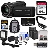 Panasonic HC-V770 Wireless Twin Recording Wi-Fi HD Video Camera Camcorder + 64GB + Battery/Charger + Backpack + Filters + LED Light + Mic + Stabilizer Kit