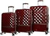 Nicole Miller New York Madison Collection Hardside 3-Piece Spinner Luggage Set: 28', 24', and 20' (Burgundy)